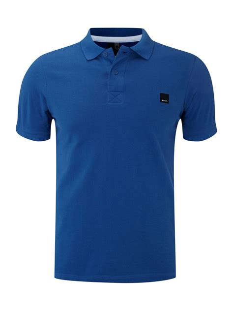 polo shirt bench bench contrast collar polo shirt in blue for men lyst