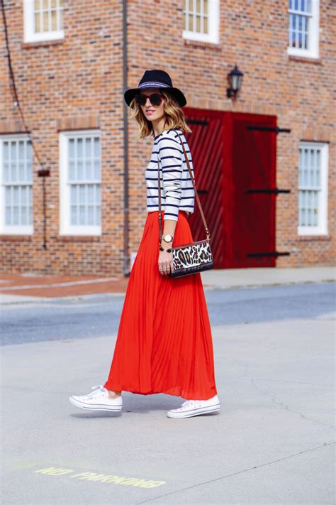 pleated maxi skirt and striped shirt