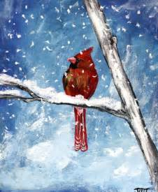 winter acrylic painting ideas canvases bird and winter on