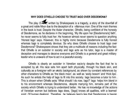 Essay About Trust by Trust Othello Essay