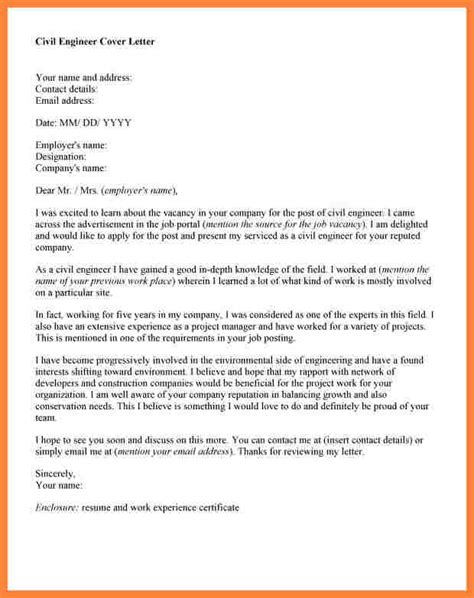 Civil Engineer Project Manager Cover Letter by Cover Letter Project Manager Construction