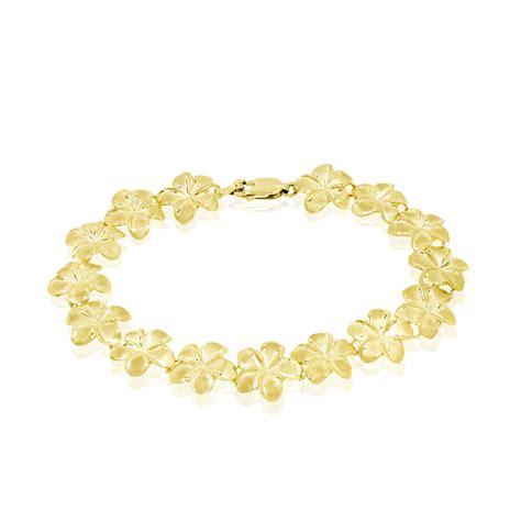plumeria bracelet in 14k yellow gold