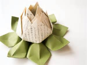 Paper Lotus Flowers Origami Lotus Flower Decoration Or Favor Made From Japanese