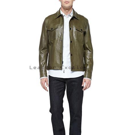 Mens Green Leather green leather bomber jacket coat nj