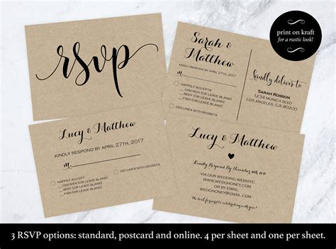 response card template 6 per page wedding rsvp postcard rsvp cards rsvp print on