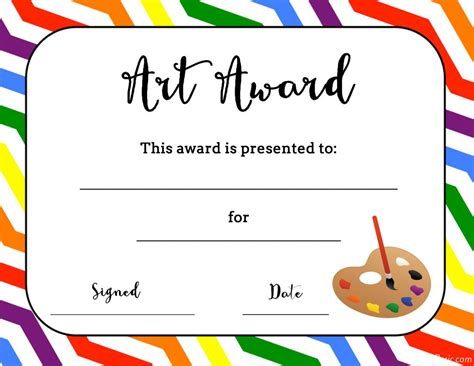 Art Temlates Student Certificate Awards Printable Free Certificate Templates For Students
