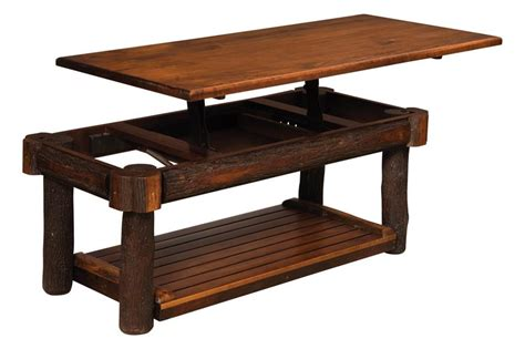 rustic hickory lift top coffee table from dutchcrafters amish
