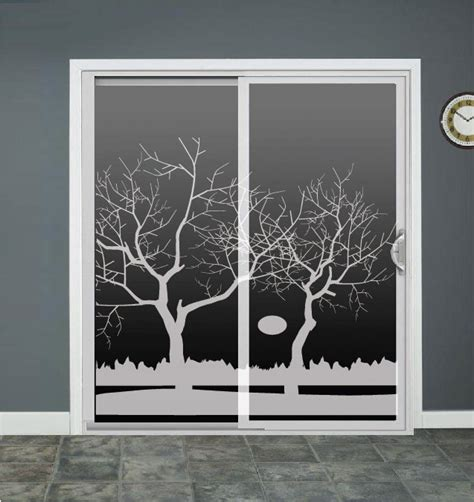 Sliding Glass Door Decals Winter Tree Lake Glass Door Decals Sliding Door By Roomsbyangie