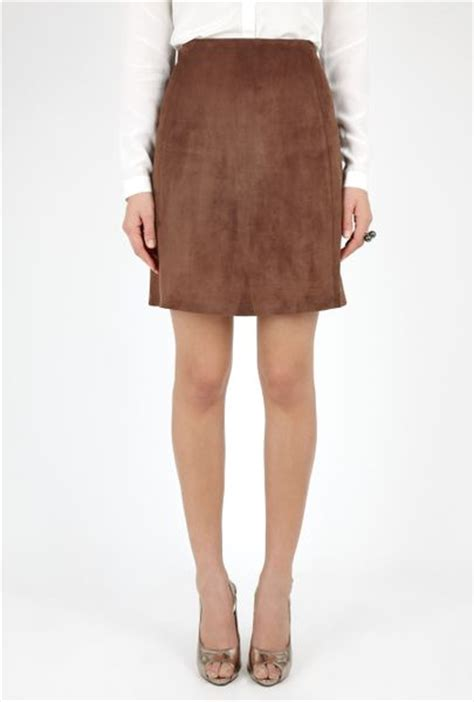 joseph brown suede a line skirt in brown lyst