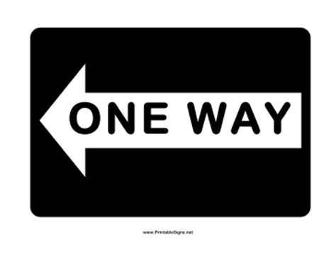 printable one way road sign printable one way left sign