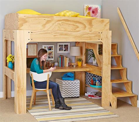 loft bed and desk loft bed and desk woodworking plan from wood magazine
