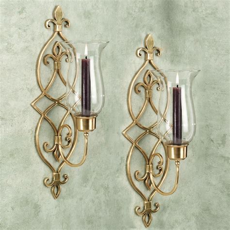 Brass Wall Sconce Jonetia Satin Brass Hurricane Sconce Pair