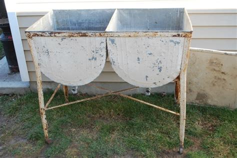 Vintage Antique Galvanized Metal Double Laundry Wash Tub W Metal Laundry Hers