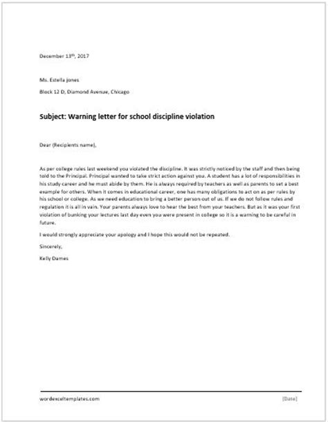 Apology Letter For Violating School Of Discipline Warning Letter Word Excel Templates