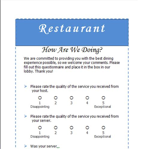 restaurant questionnaire template sle restaurant survey word templates