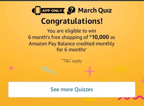 amazon quiz all answers amazon march quiz win free rs 10000 amazon pay