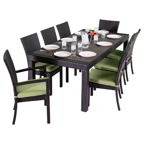 deco patio rst brands deco 9 patio dining set with ginkgo green