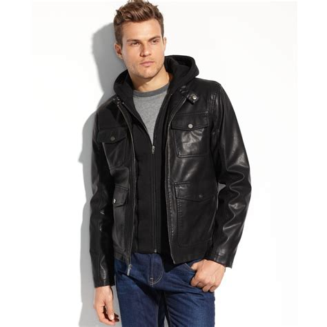 Jaket Hondie Guees lyst guess coats faux leather fourpocket hooded jacket in black for
