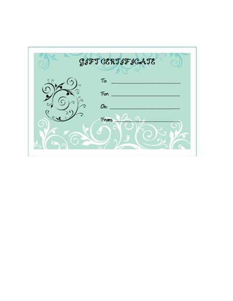 blank templates of gift certificates
