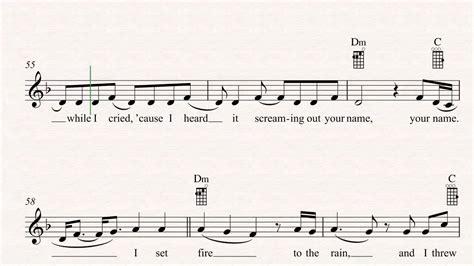 adele chords set ukulele set fire to the rain adele sheet music chords