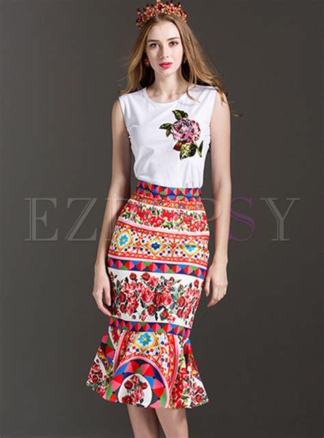 Ethnic Fishtail Pics   stylish sequins embroidered sleeveless camis ethnic