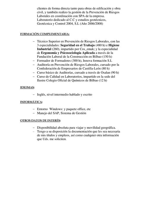How To Post A Resume Online by Modelo De Curr 237 Culum Vitae Para Ciencias Exactas