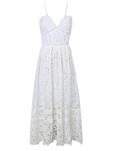 Lace Spaghetti Midi Dress white spaghetti crochet lace midi dress choies