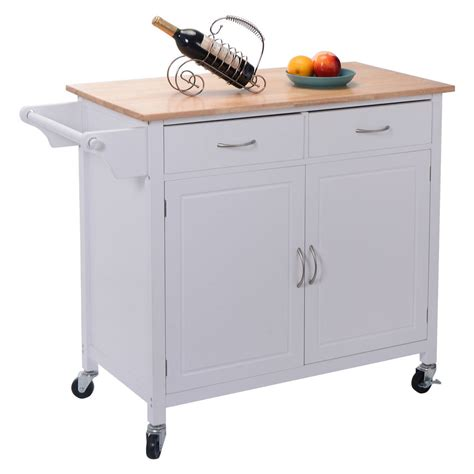 kitchen islands carts us portable kitchen rolling cart wood island serving utility w cabinet drawer