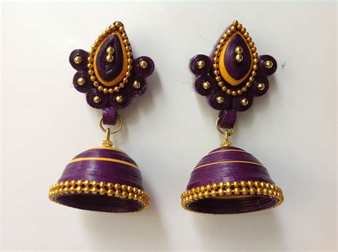 How To Make Paper Jhumkas At Home - beautiful easy paper quilling jewellery designs