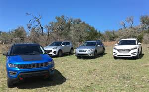 hyundai jeep 2017 2017 jeep compass vs hyundai tucson vs subaru crosstrek vs