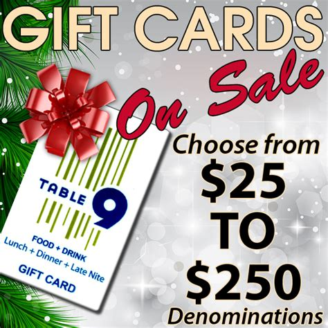 Restaurant Gift Cards Nyc - table 9 gift cards make great holiday presents table 9 restaurant