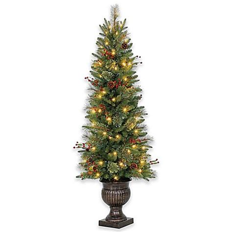 5 foot traditional potted pre lit artificial tree with led lights bed bath beyond