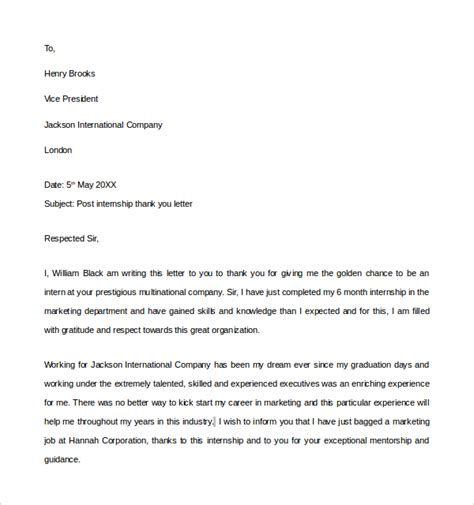 thank you letter after to vice president 10 internship thank you letters sle templates
