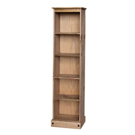 corona narrow bookcase with 5 shelf pine dovetail