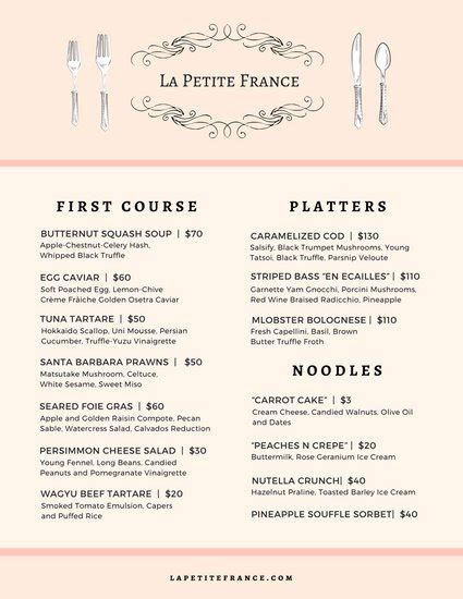 menu layout in french customize 260 french menu templates online canva