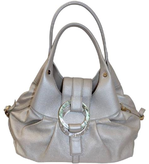 Grysons New Shoulder Bag Version Of The Beautiful Handbag by Bvlgari Metallic Leather Pearl Medium Chandra Shoulder Bag