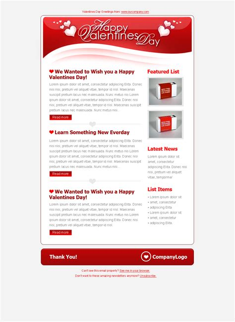 email tri valentines day clean tri color email templates by