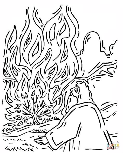 Moses And Burning Bush Coloring Online Super Coloring Moses Burning Bush Coloring Page