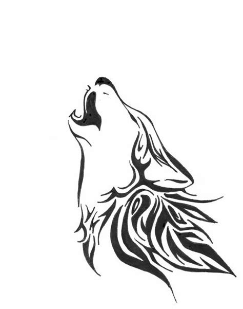 collection of 25 howling wolf tattoo stencil