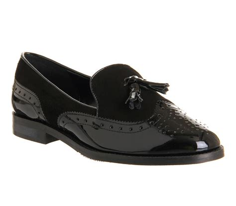 Maharani Loafer Flats Dir Co office vectra brogue loafer black suede black patent flats