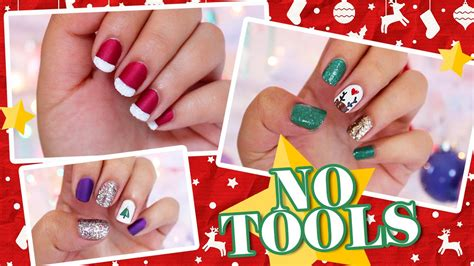 easy christmas nail art without tools 3 easy no tools christmas nail art youtube