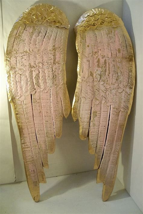 wings large wood metal carved wall sculpture