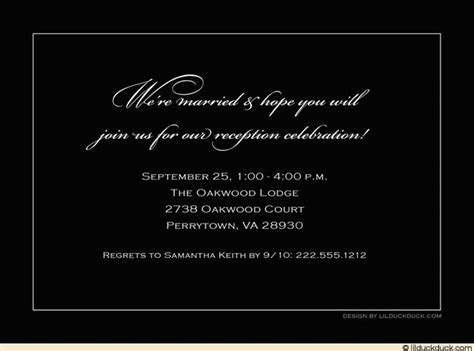 reception invitations reception invitation wording inside or back of card any colors