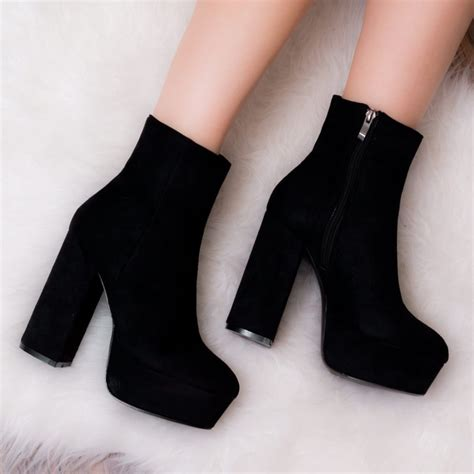 Platform Block Heel Ankle Boots vivacious black ankle boots shoes from spylovebuy