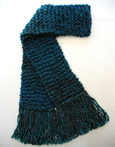 how to finger knit a thick scarf teal scarf chunky thick knitted scarf