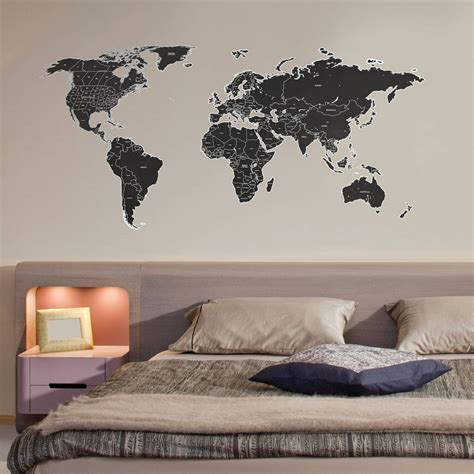 map wall decal black labelled world map wall stickers by the binary box