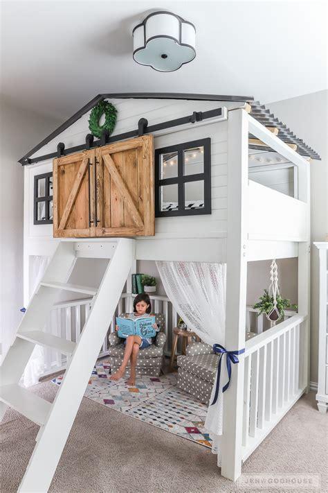 build  diy sliding barn door loft bed full size