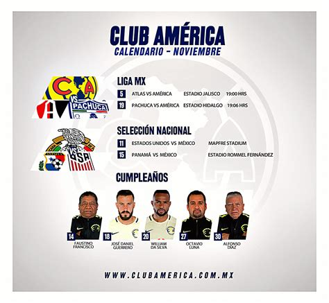 Calendario Club America Calendario Azulcrema Noviembre Club Am 233 Rica Sitio Oficial