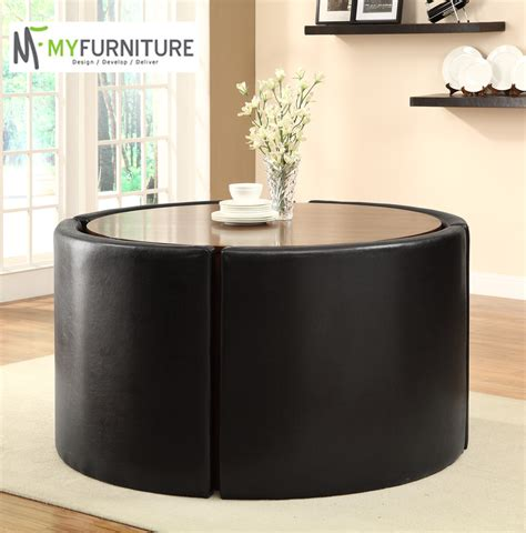 hideaway oak dining table and black faux leather