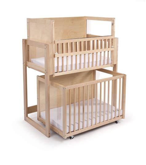 nursery layout with double bed double decker bunk bed stacked cribs must save space